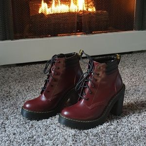 Near-New Dr. Martens Persephone Cherry Red Arcadia